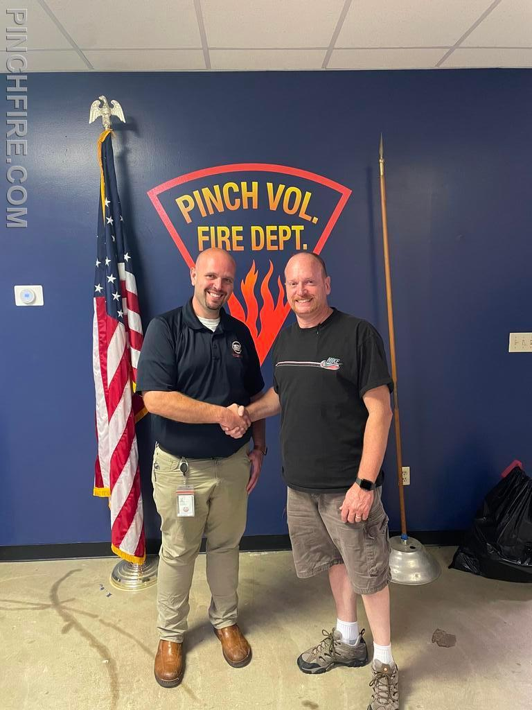 Jamie Neal welcomed to the department as Probationary Firefighters by Chief John Thaxton